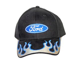 Silver blue, flames Ford Logo